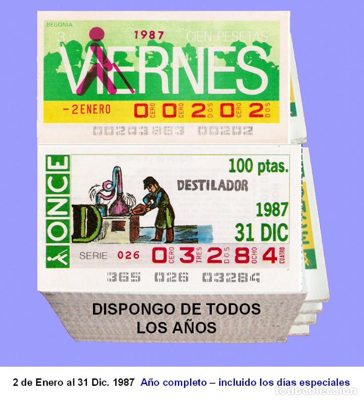 1987 - CUPONES DE LA ONCE / AÑO COMPLETO INCLUIDO LOS SORTEOS ESPECIALES / BUENA CALIDAD (Coleccionismo - Lotería - Cupones ONCE)