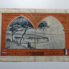Cupones ONCE: BILLETE DE LOTERIA DE MONACO DE 1931. Lote 268872924