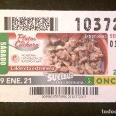 Cupones ONCE: Nº 10372 (9/ENERO/2021)-EXTREMADURA. Lote 269069833