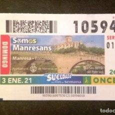 Cupones ONCE: Nº 10594 (3/ENERO/2021)-BARCELONA. Lote 269070518