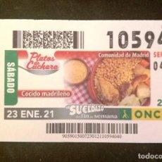 Cupones ONCE: Nº 10594 (23/ENERO/2021)-MADRID. Lote 269070633