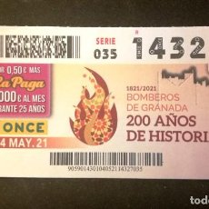 Billets ONCE: Nº 14327 (4/MAYO/2021)-GRANADA. Lote 269207353