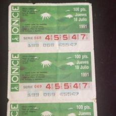 Cupones ONCE: BOLETO DE LA ONCE NUMERO 45547 18 DE JULIO DE 1991.. Lote 269293843
