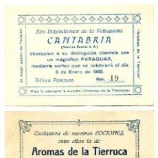 Cupones ONCE: PAPELETA DE SORTEO DE UN PARAGUAS POR LOS DEPENDIENTES DE LA PELUQUERÍA CANTABRIA DE SANTANDER 1933. Lote 269934043