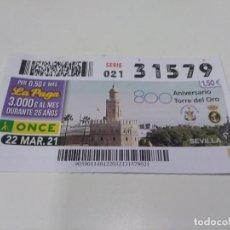 Cupones ONCE: CUPÓN ONCE 800 ANIVERSARIO TORRE DEL ORO (SEVILLA).. Lote 270878633