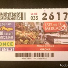 Cupones ONCE: Nº 26174 (18/ENERO/2021)-GIRONA. Lote 270924263