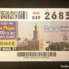 Cupones ONCE: Nº 26857 (22/MARZO/2021)-SEVILLA. Lote 270925528