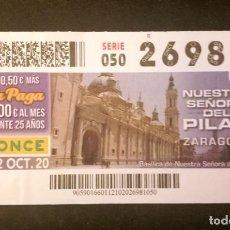 Cupones ONCE: Nº 26981 (12/OCTUBRE/2020)-ZARAGOZA. Lote 270926083