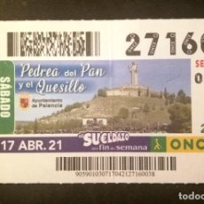 Cupones ONCE: Nº 27160 (17/ABRIL/2021)-PALENCIA. Lote 270995483