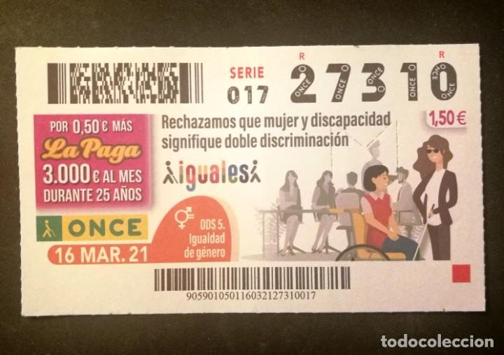 Nº 27310 (16/MARZO/2021) (Coleccionismo - Lotería - Cupones ONCE)