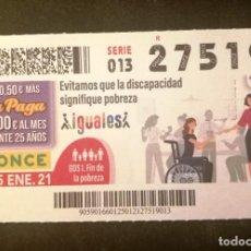 Cupones ONCE: Nº 27519 (25/ENERO/2021). Lote 270995683