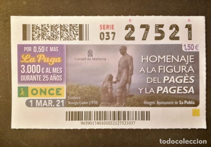 Nº 27521 (1/MARZO/2021)-BALEARES (Coleccionismo - Lotería - Cupones ONCE)