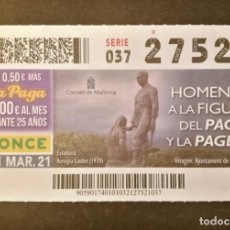 Cupones ONCE: Nº 27521 (1/MARZO/2021)-BALEARES. Lote 270995738