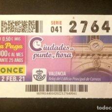 Cupones ONCE: Nº 27640 (2/FEBRERO/2021)-VALENCIA. Lote 270995803
