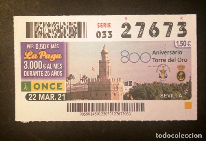 Nº 27673 (22/MARZO/2021)-SEVILLA (Coleccionismo - Lotería - Cupones ONCE)