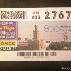 Cupones ONCE: Nº 27673 (22/MARZO/2021)-SEVILLA. Lote 270995923