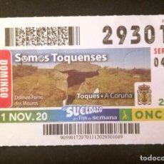 Cupones ONCE: Nº 29301 (1/NOVIEMBRE/2020)-LA CORUÑA. Lote 271027108