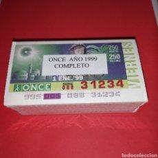 Cupones ONCE: AÑO 1999 AÑO COMPLETO CUPONES DE LA ONCE TODOS LOS SORTEOS. Lote 273430733