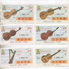 Cupones ONCE: LOTE DE 69 DECIMOS DE LA ONCE-SERIE COMPLETA-INSTRUMENTOS MUSICALES--MUSICA-VER MAS FOTO. Lote 276934573
