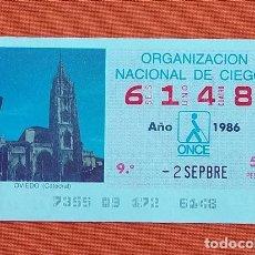 Cupones ONCE: 6148 CUPÓN DE LA ONCE LOTERÍA ESPAÑOLA VIÑETA CATEDRAL DE OVIEDO ASTURIAS. Lote 277645203