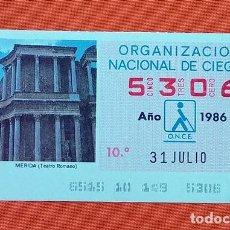Cupones ONCE: 5306 CUPÓN DE LA ONCE LOTERÍA ESPAÑOLA VIÑETA TEATRO ROMANO MÉRIDA EXTREMADURA ESPAÑA. Lote 277646123