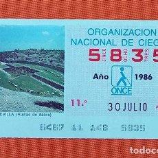 Cupones ONCE: 5835 CUPÓN DE LA ONCE LOTERÍA ESPAÑOLA VIÑETA RUINAS DE ITÁLICA SEVILLA ESPAÑA. Lote 277646293