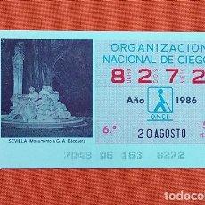 Cupones ONCE: 8272 CUPÓN DE LA ONCE LOTERÍA ESPAÑOLA VIÑETA MONUMENTO A BÉCQUER SEVILLA ESPAÑA. Lote 277647833