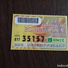 Cupones ONCE: CUPÓN ONCE 17-08-08 EXTRA DE VERANO.. Lote 278441973
