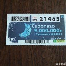 Cupones ONCE: CUPÓN ONCE 01-06-12 NUEVO CUPONAZO.. Lote 278442138