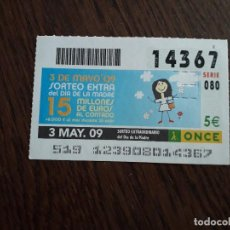 Bilhetes ONCE: CUPÓN ONCE 03-05-09 SORTEO EXTRAORDINARIO DÍA DE LA MADRE.. Lote 278668668