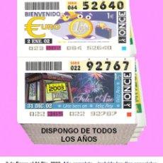 Cupones ONCE: 2002 - CUPONES DE LA ONCE / AÑO COMPLETO INCLUIDO LOS SORTEOS ESPECIALES / BUENA CALIDAD. Lote 278757658