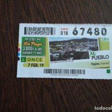Cupones ONCE: CUPÓN ONCE 07-02-19 MI PUEBLO, PEPINO. TOLEDO.. Lote 278833863