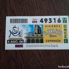 Cupones ONCE: CUPÓN ONCE 04-08-06 MILENARIO ESPINOSA MONTEROS.. Lote 278834013