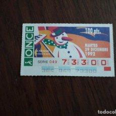 Bilhetes ONCE: CUPÓN ONCE 29-12-92 LA NAVIDAD, MUÑECO DE NIEVE.. Lote 279329028