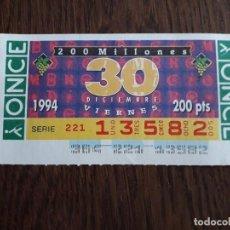 Bilhetes ONCE: CUPÓN ONCE 30-12-94, CUPÓN DEL VIERNES, 200 MILLONES.. Lote 283119038
