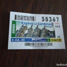 Bilhetes ONCE: CUPÓN ONCE 04-07-20, ESPETO DE SARDINAS, MÁLAGA.. Lote 284793763