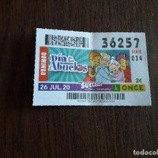 Bilhetes ONCE: CUPÓN ONCE 26-07-20, DÍA DE LOS ABUELOS.. Lote 284823178