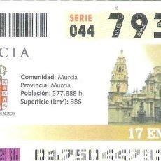 Cupones ONCE: 1 DECIMO O CUPON ONCE - 17 ENERO 2005 - MURCIA. Lote 288603508