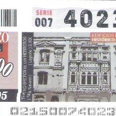 Cupones ONCE: 1 DECIMO O CUPON ONCE - 21 ENERO 2005 - TEATRO BRETON DE LOS HERREROS ( LOGROÑO ). Lote 288603758