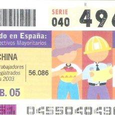 Cupones ONCE: 1 DECIMO O CUPON ONCE - 7 FEBRERO 2005 - EL MUNDO EN ESPAÑA - CHINA - COLECTIVOS MAYORITARIOS. Lote 288605223
