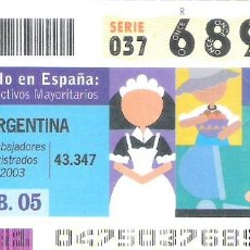 Cupones ONCE: 1 DECIMO O CUPON ONCE - 16 FEBRERO 2005 - EL MUNDO EN ESPAÑA - ARGENTINA - COLECTIVOS MAYORITARIOS. Lote 288605343