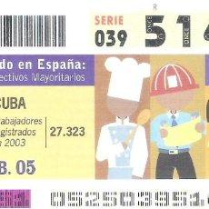 Cupones ONCE: 1 DECIMO O CUPON ONCE - 21 FEBRERO 2005 - CUBA - EL MUNDO EN ESPAÑA - COLECTIVOS MAYORITARIOS - CUBA. Lote 288605733
