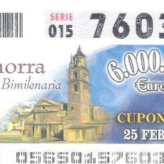 Cupones ONCE: 1 DECIMO O CUPON ONCE - 25 FEBRERO 2005 - CALAHORRA - CIUDAD BIMILENARIA - LA RIOJA. Lote 288606098