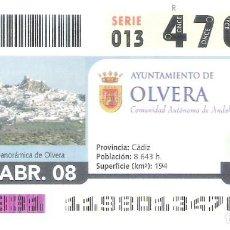 Cupones ONCE: 1 DECIMO O CUPON ONCE - 28 ABRIL 2008 - OLVERA ( CADIZ ). Lote 288607608