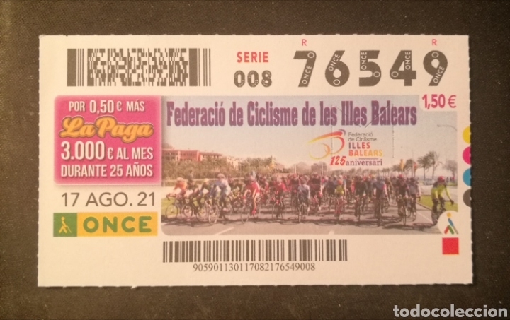 N° 76549 (17/AGOSTO/2021)-BALEARES (Coleccionismo - Lotería - Cupones ONCE)
