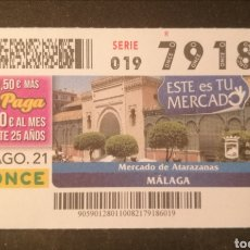 Cupones ONCE: N° 79186 (10/AGOSTO/2021)-MALAGA. Lote 288610148