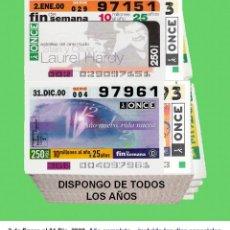 Cupones ONCE: 2000 - CUPONES DE LA ONCE / AÑO COMPLETO INCLUIDO LOS SORTEOS ESPECIALES / BUENA CALIDAD. Lote 288927688