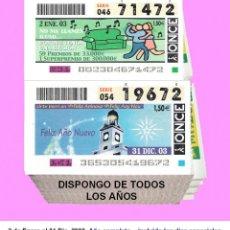 Cupones ONCE: 2003 - CUPONES DE LA ONCE / AÑO COMPLETO INCLUIDO LOS SORTEOS ESPECIALES / BUENA CALIDAD. Lote 289253598