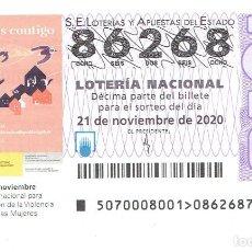 Cupones ONCE: LOTERIA DE LOS SABADOS, CAPICUA, 86268, SORTEO 20 DEL 2020. Lote 289709543