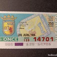 Cupones ONCE: C. ONCE. ESCUDOS DE LAS PROVINCIAS DE ESPAÑA. ÁLAVA. 26 DE JUNIO 1998. Nº 14701. Lote 289716008